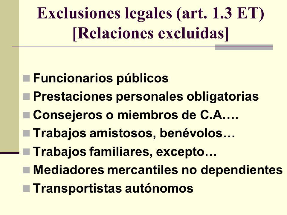 Exclusiones legales (art. 1.3 ET) [Relaciones excluidas]